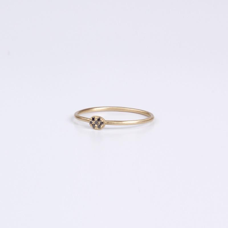 Thin round element ring with Black Diamonds