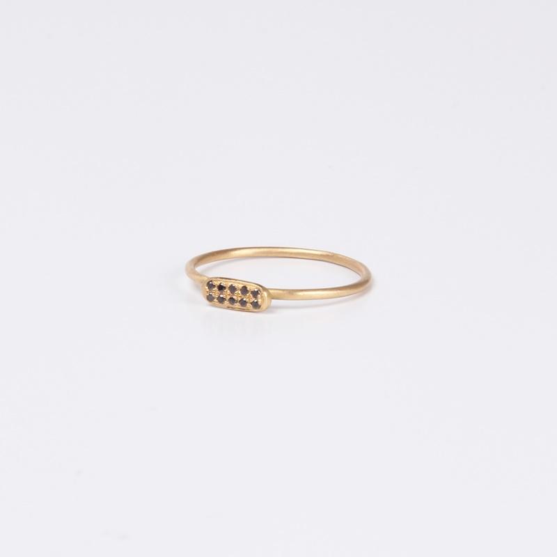 Thin Rectangular element ring with Black Diamonds