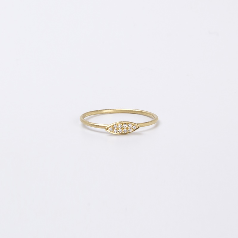 Thin Marquee element ring with Diamonds