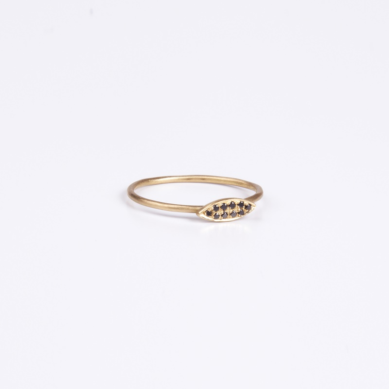 Thin Marquee element ring with Black Diamonds