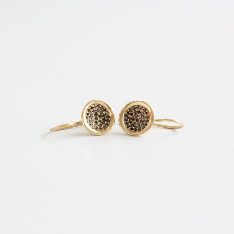 Hanging Black Diamonds bowl-shaped earrings