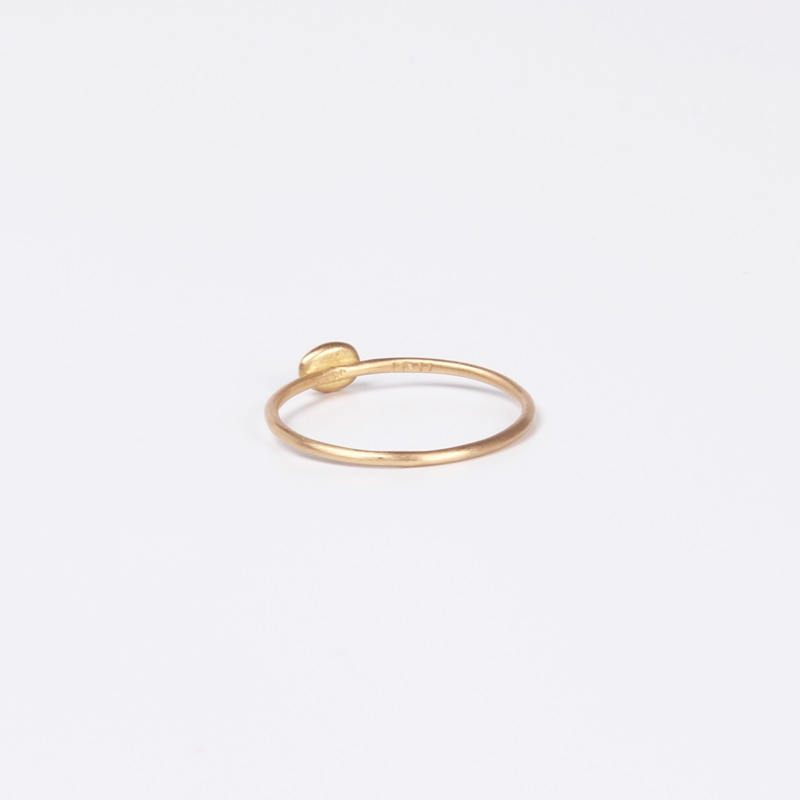Thin round element ring with a single Diamond