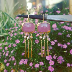 Pink Sapphire earrings with Diamonds and gold leaves