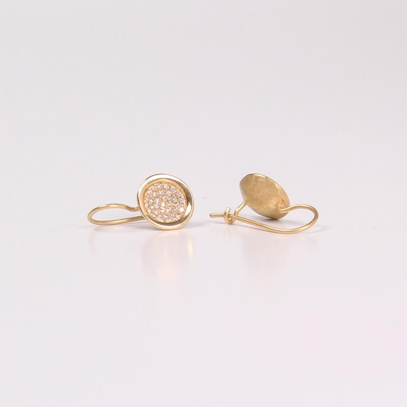 עגילי קערה תלויים משובצים יהלומים