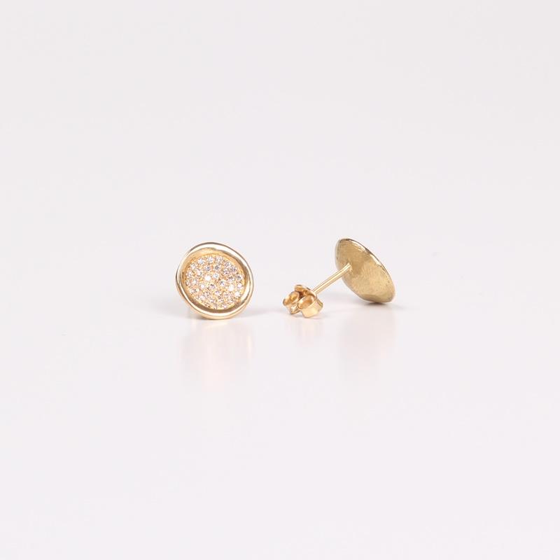 עגילי קערה צמודים משובצים יהלומים